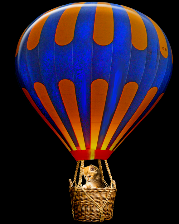 Cat in a hot air balloon at night with the burner glowing
